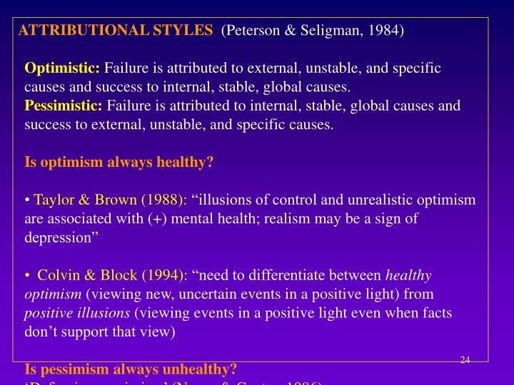ATTRIBUTIONAL STYLES