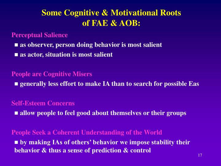 Some Cognitive & Motivational Roots