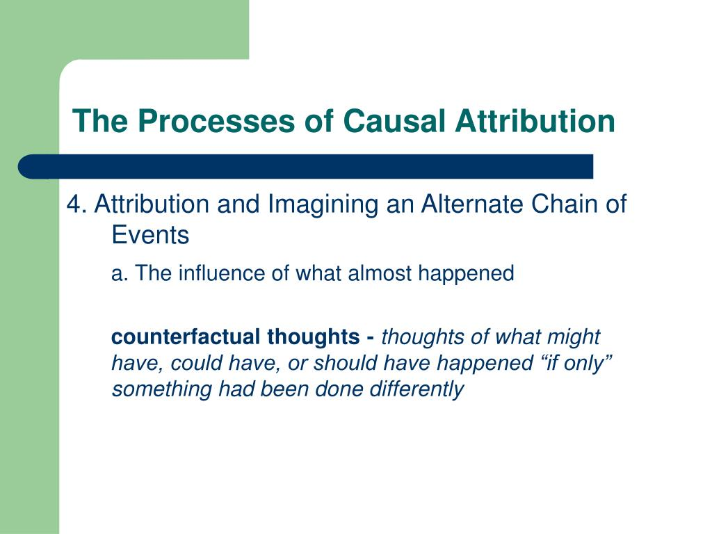 The Processes of Causal Attribution