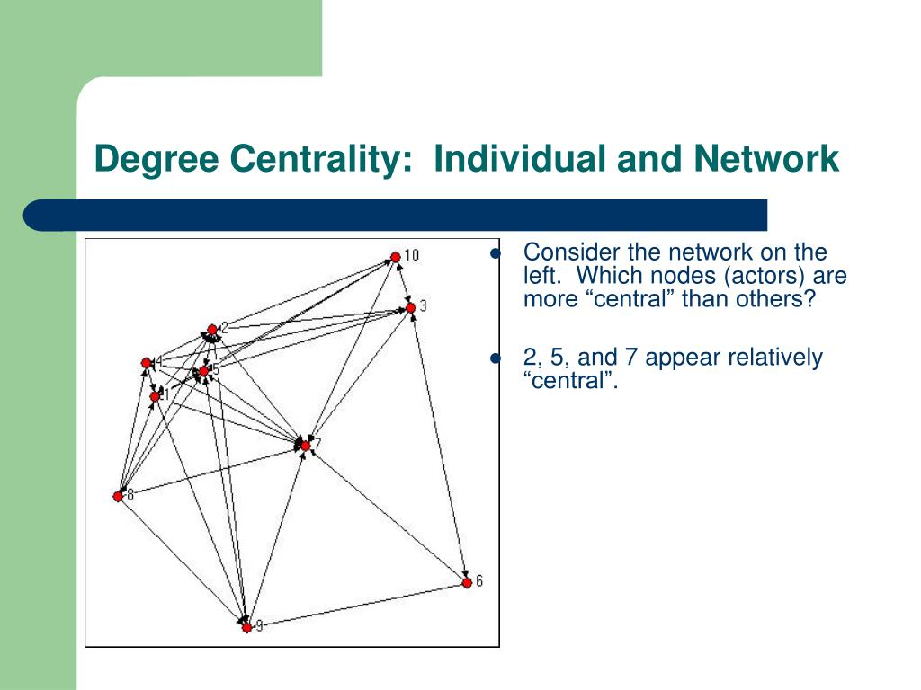 Degree Centrality:  Individual and Network