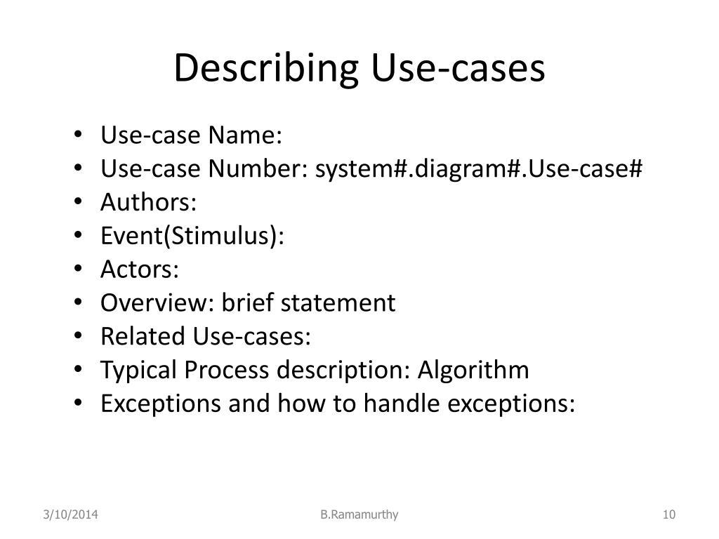 Describing Use-cases