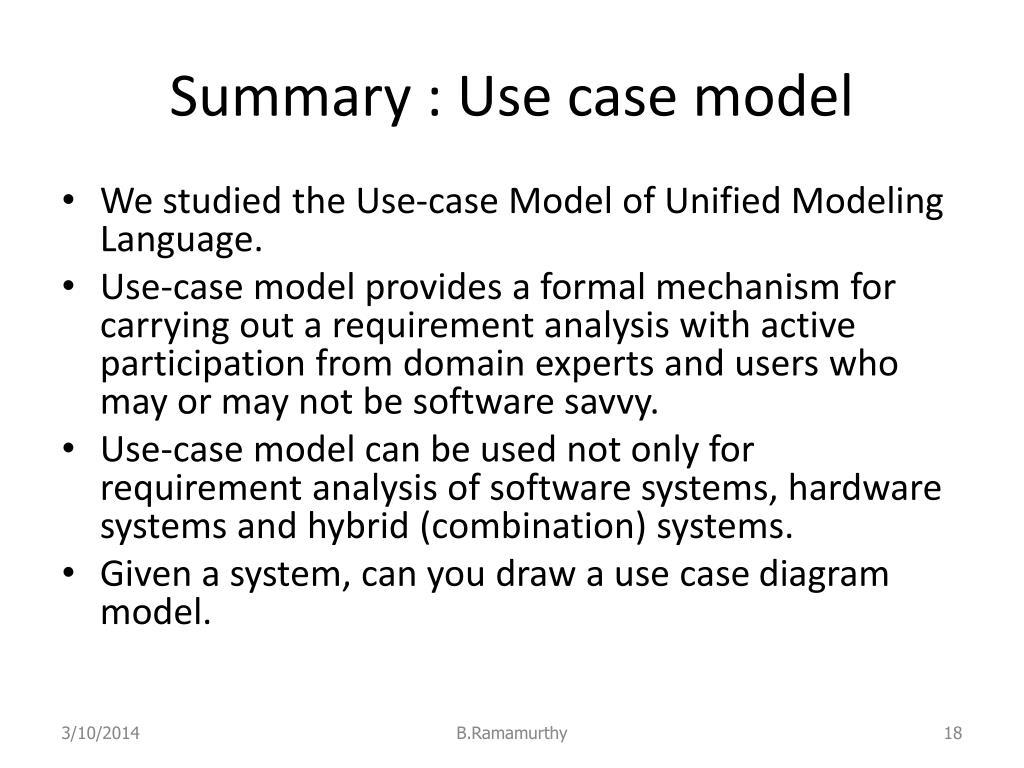 Summary : Use case model