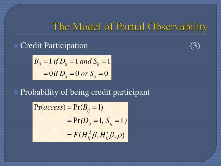 The Model of Partial Observability