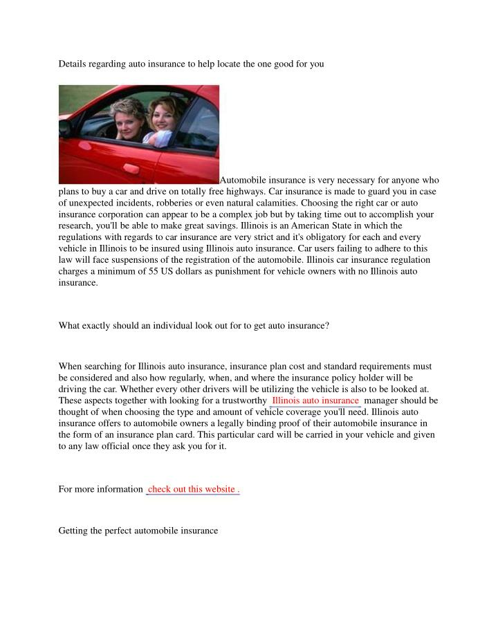 Details regarding auto insurance to help locate the one good for you