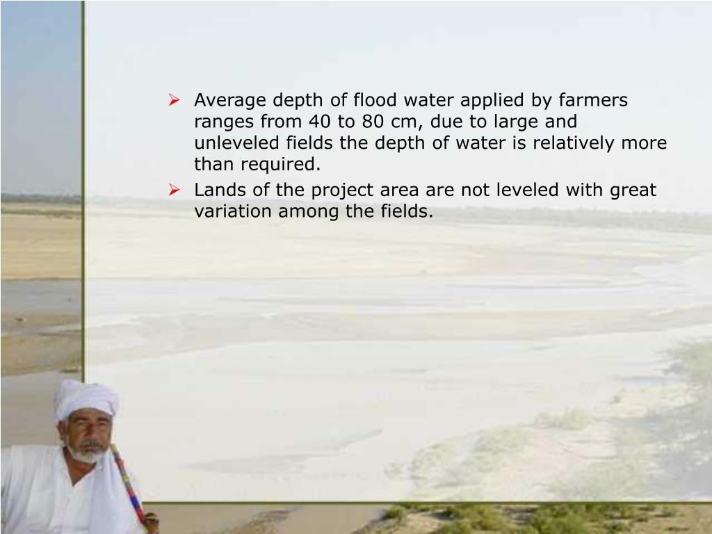 Average depth of flood water applied by farmers ranges from 40 to 80 cm, due to large and unleveled fields the depth of water is relatively more than required.