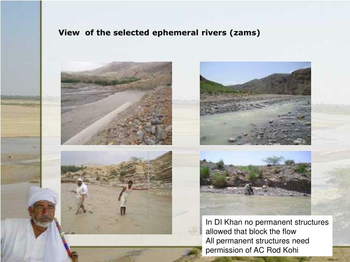 View of the selected ephemeral rivers zams