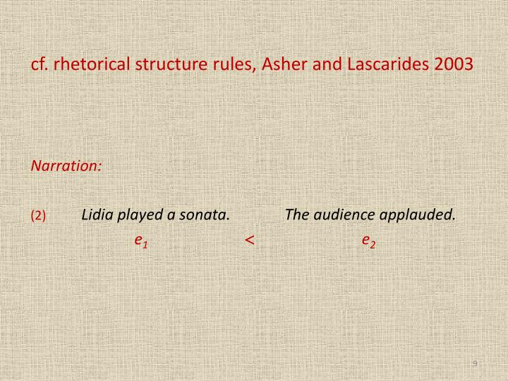 cf. rhetorical structure rules, Asher and Lascarides 2003