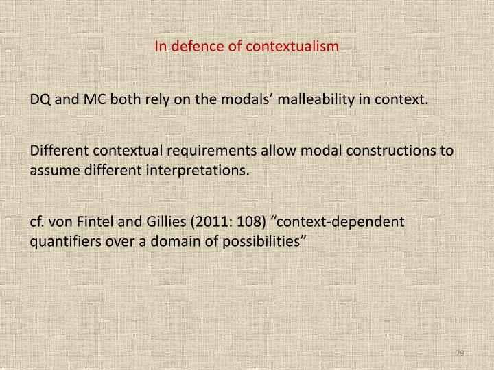 In defence of contextualism