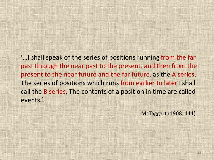'…I shall speak of the series of positions running