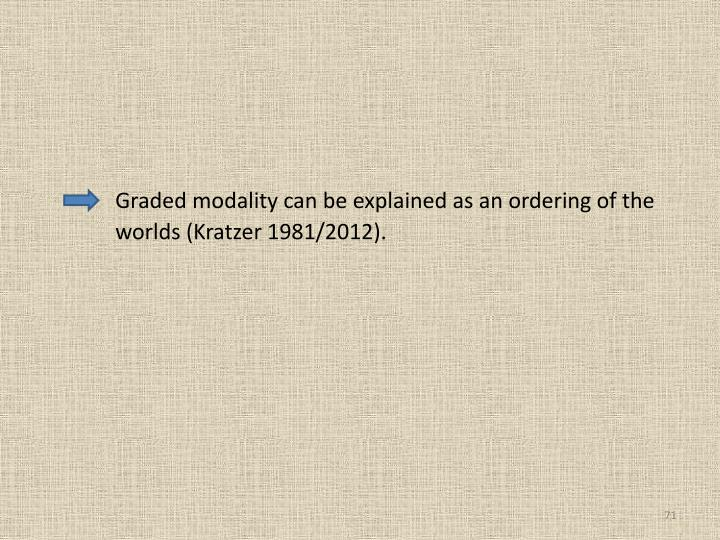 Graded modality can be explained as an ordering of the 	worlds (Kratzer 1981/2012).