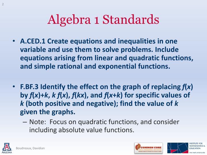 Algebra 1 standards