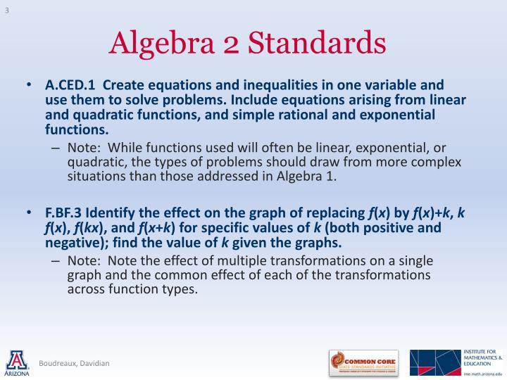 Algebra 2 standards