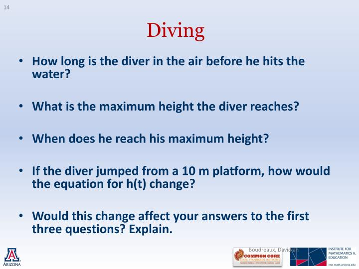 How long is the diver in the air before he hits the water?