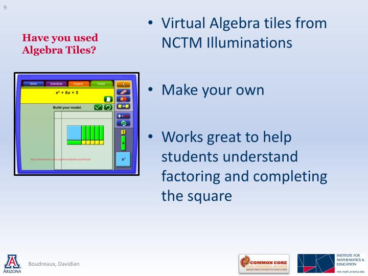 Have you used Algebra Tiles?