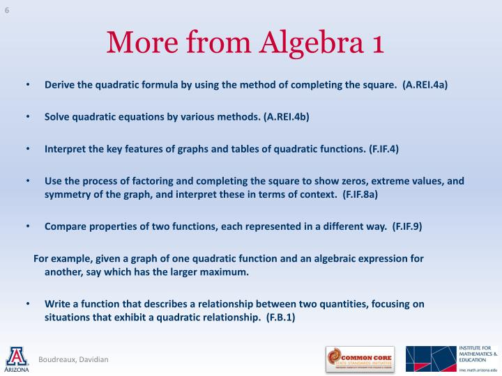 Derive the quadratic formula by using the method of completing the square.  (A.REI.4a)