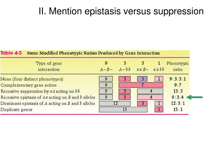 II. Mention epistasis versus suppression