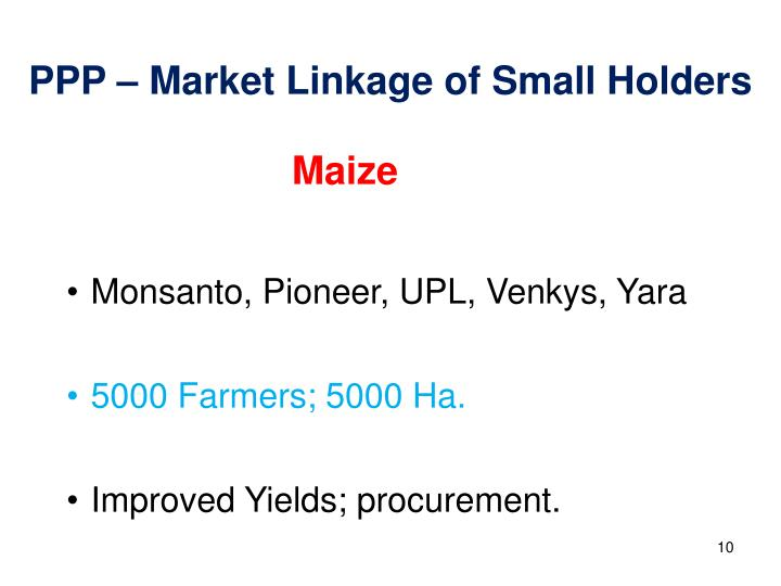 PPP – Market Linkage of Small Holders