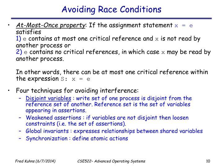 Avoiding Race Conditions