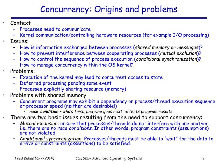 Concurrency origins and problems