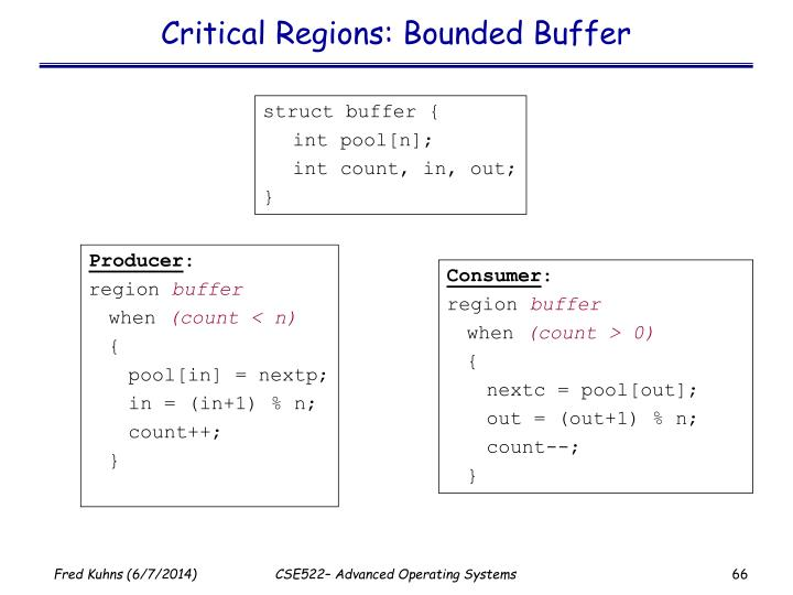 Critical Regions: Bounded Buffer