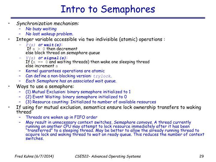 Intro to Semaphores