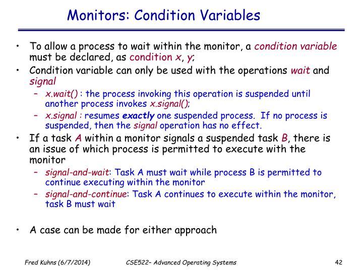 Monitors: Condition Variables