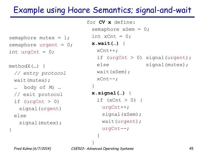 Example using Hoare Semantics; signal-and-wait