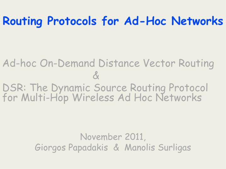 routing protocols for ad hoc networks n.