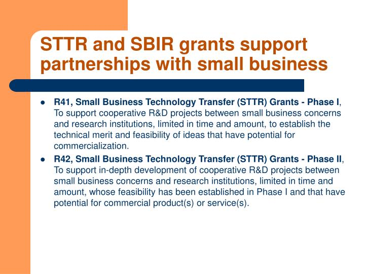 STTR and SBIR grants support partnerships with small business