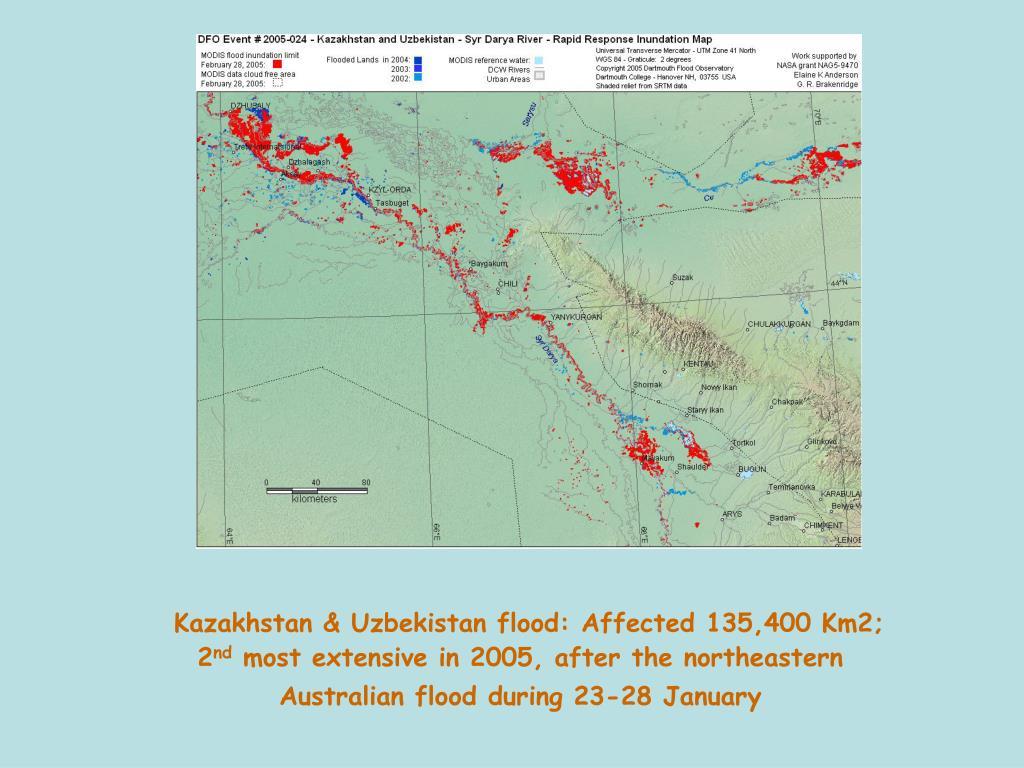Kazakhstan & Uzbekistan flood: Affected 135,400 Km2; 2