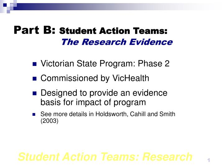 part b student action teams the research evidence n.