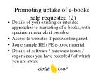 promoting uptake of e books help requested 2