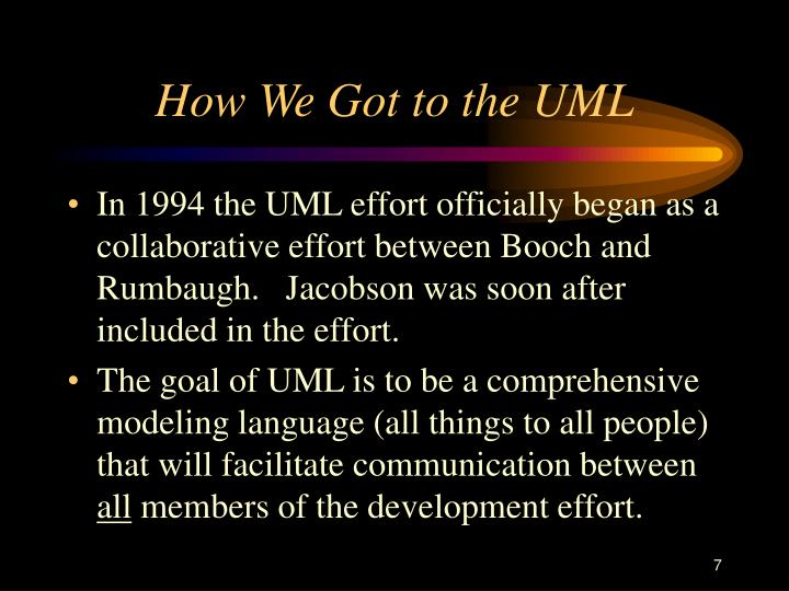How We Got to the UML
