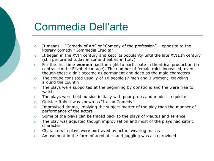 an analysis of commedia dellarte the first improvisational drama