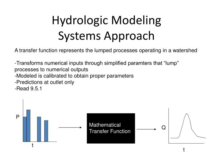A transfer function represents the lumped processes operating in a watershed