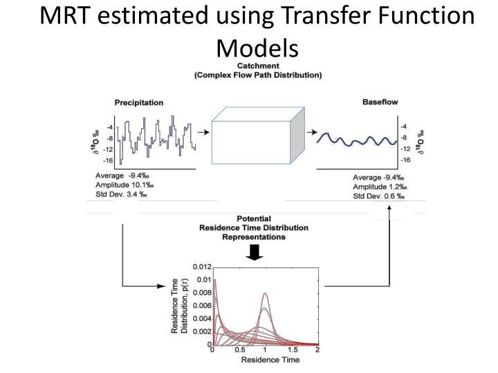MRT estimated using Transfer Function Models