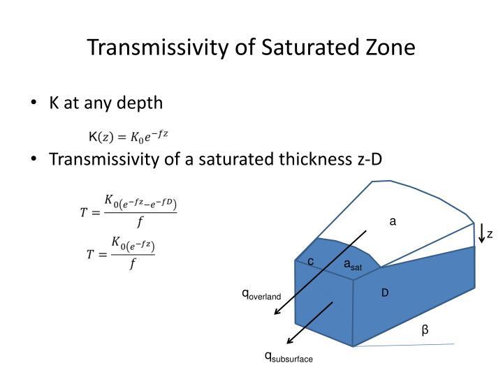Transmissivity of Saturated Zone