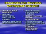 processes for becoming earthquake resilient