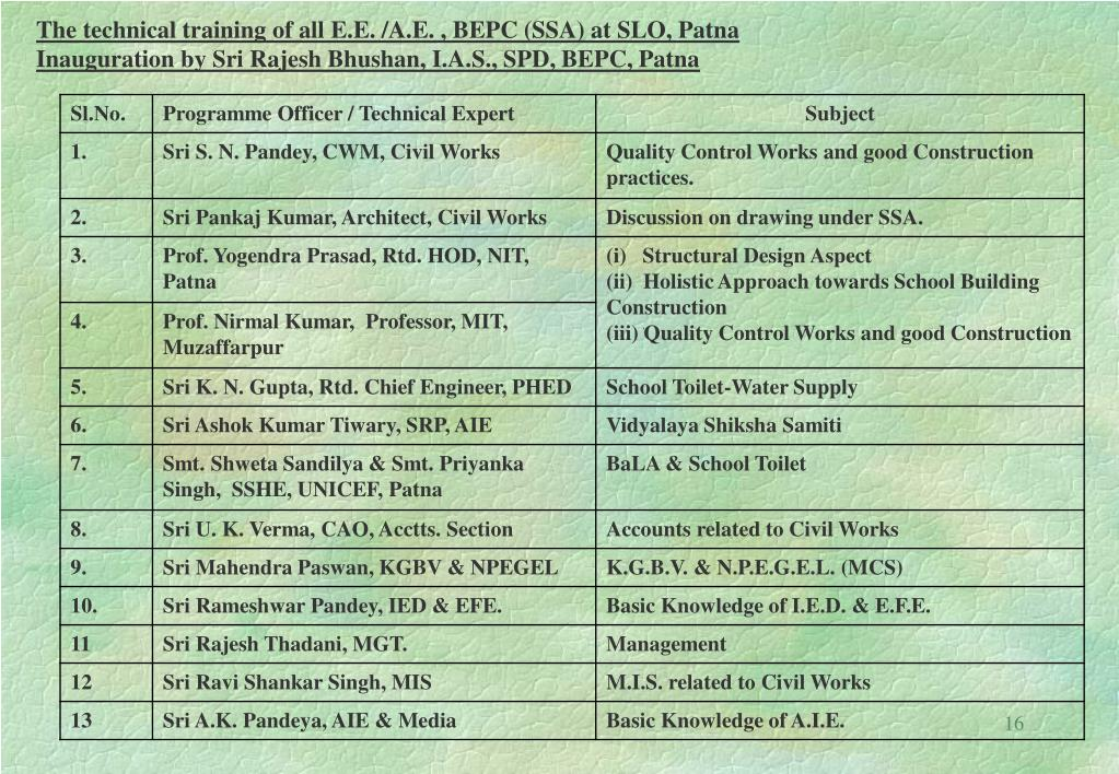 The technical training of all E.E. /A.E. , BEPC (SSA) at SLO, Patna