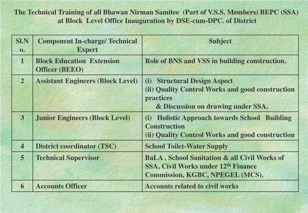 The Technical Training of all Bhawan Nirman Samitee  (Part of V.S.S. Members) BEPC (SSA)