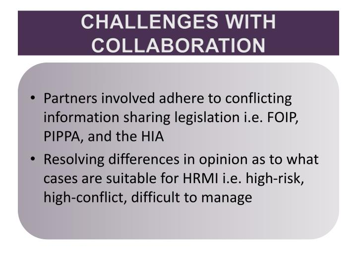 CHALLENGES WITH COLLABORATION