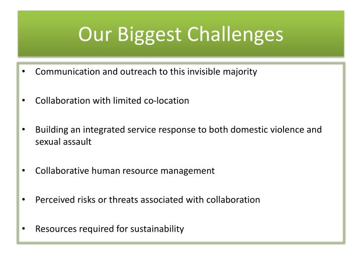 Our Biggest Challenges