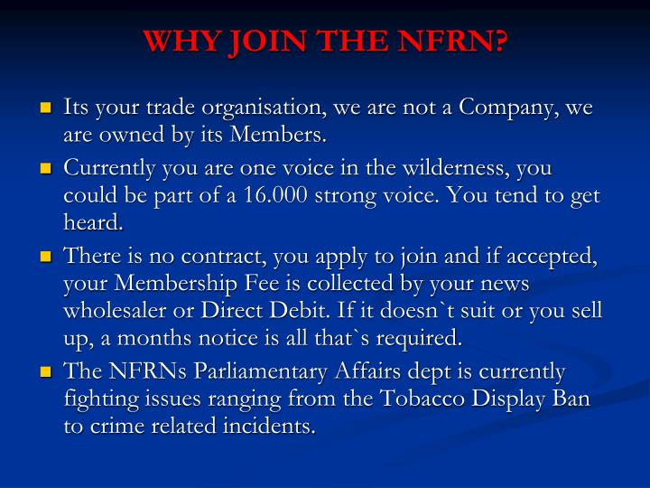 WHY JOIN THE NFRN?