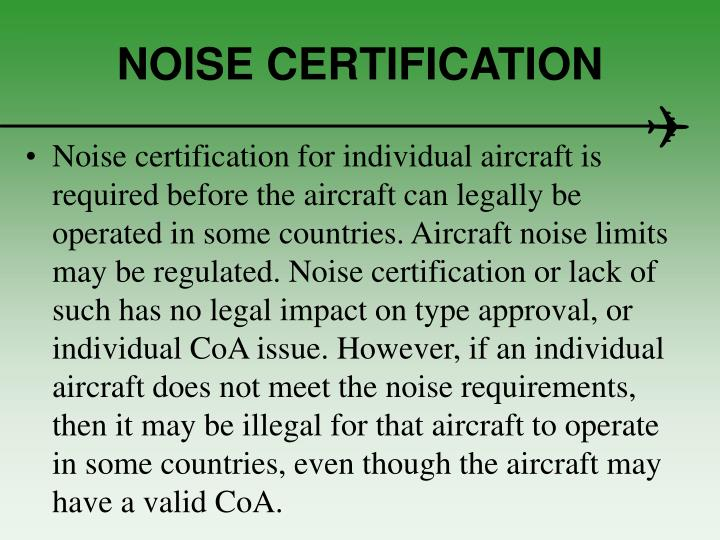 NOISE CERTIFICATION