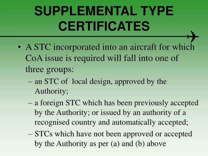 SUPPLEMENTAL TYPE CERTIFICATES