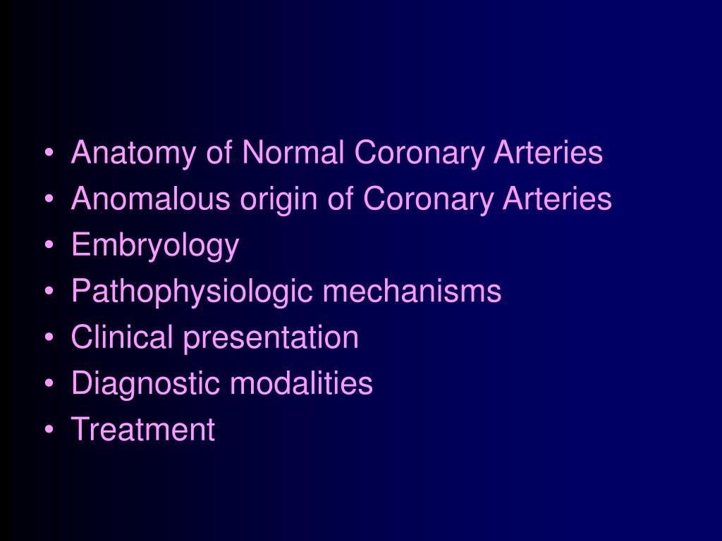 Anatomy of Normal Coronary Arteries