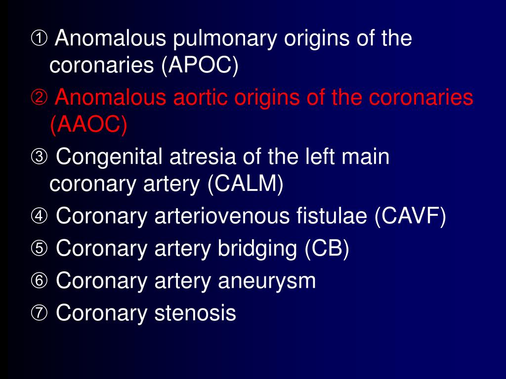 Anomalous pulmonary origins of the coronaries (APOC)