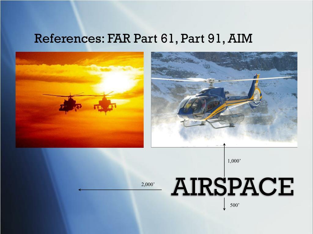 References: FAR Part 61, Part 91, AIM