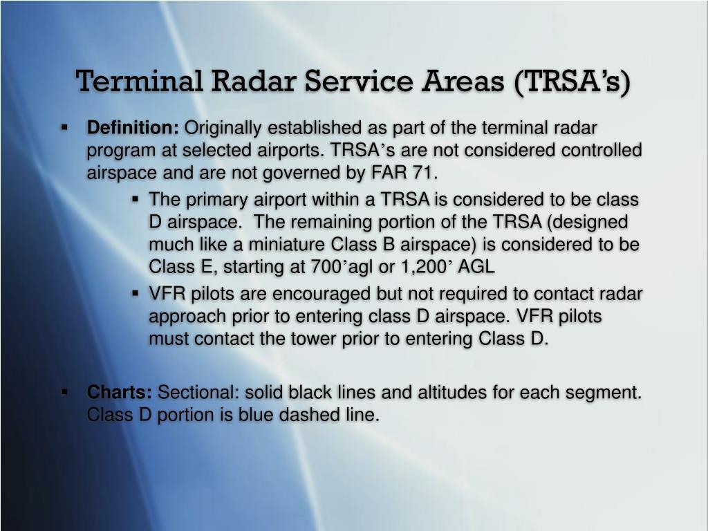 Terminal Radar Service Areas (TRSA's)