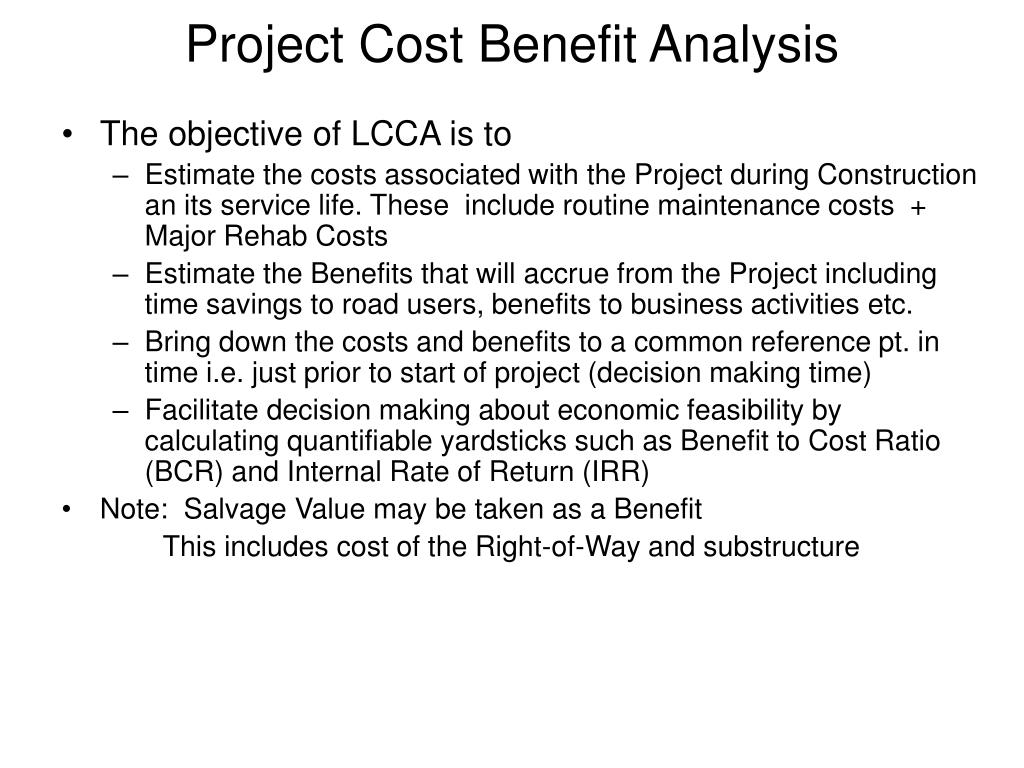 Project Cost Benefit Analysis